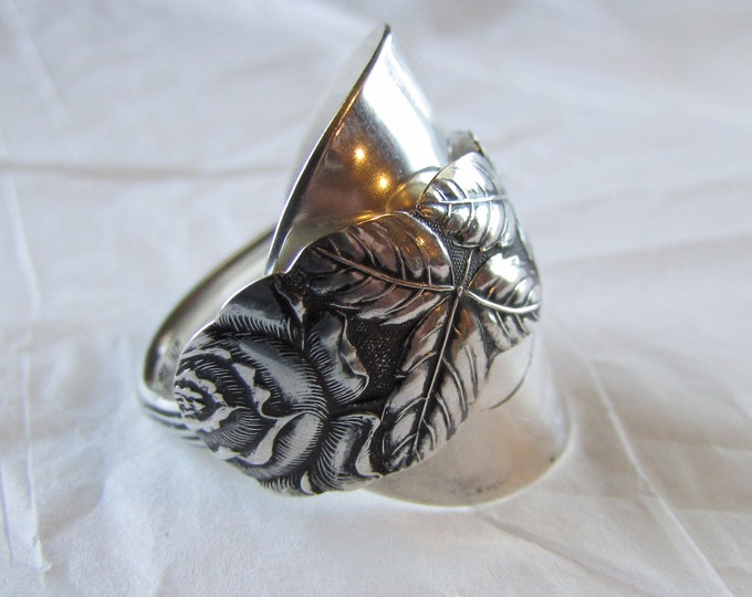 Rose spoon ring. Demitasse Shield ring.