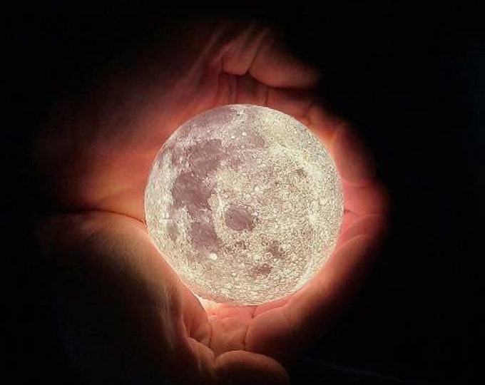 """Moon Lamp.  3D Printed Lithophane Nightlight. 3"""" Diameter Moon on Silver Base with replaceable LED light bulb, on-off switch on cord, 120v."""