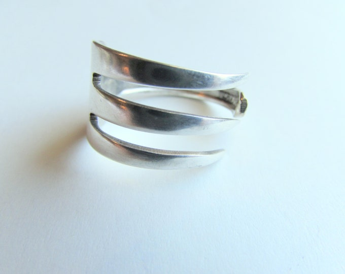 Fork ring.  Three tine Fork ring. Ring made from a vintage silver plated fork.
