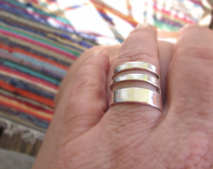 Fork ring.  Three tine Fork ring. Ring made from a vintage silver cake fork.