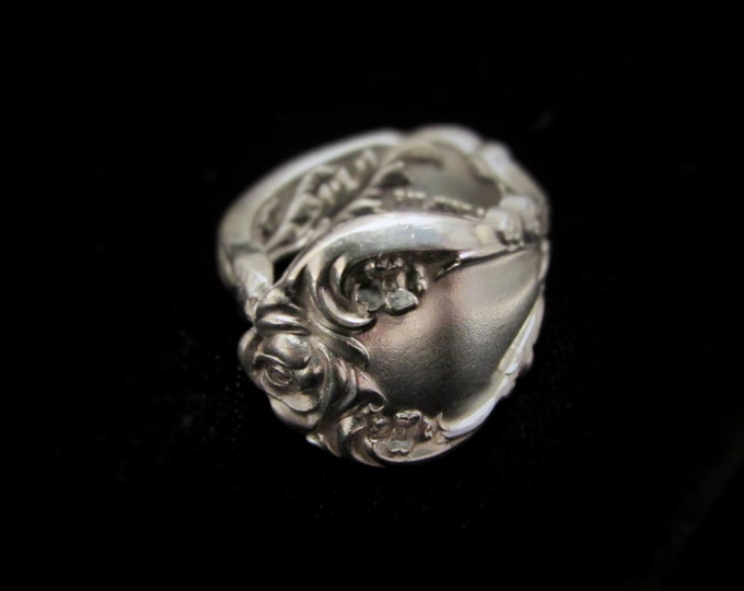 Spoon Ring.Rose florals Art Nouveau Spoon ring . Floral  ring made from a vintage spoon. PAT. June 6, 1903.