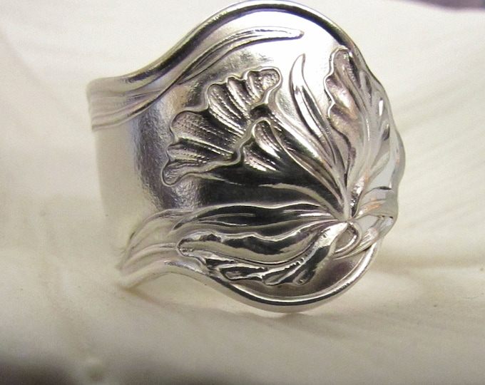 Orchid Spoon ring . Spoon ring made from a vintage Orchid pattern silver plate spoon. Unique. Size 8. Custom sizes available.