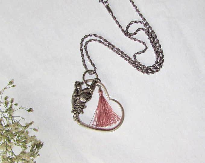 Fork pendant. Made from antique silverware. Rose spoon.