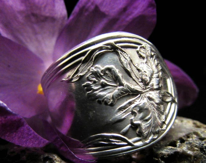 Spoon ring . Spoon ring made from a rare 'One' pattern silver plate spoon.patent 1911 Wm Rogers MFG Co.