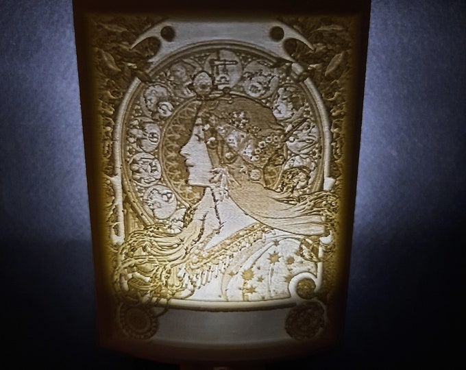 Lithophane Night Light, Alphonse Mucha 'Zodiac' Art Nouveau series