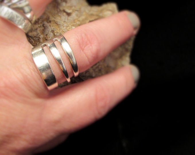 Fork ring. Have your cake-fork and wear it too!! Three tine Fork ring. Ring made from a vintage silverplated cake fork.