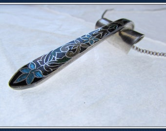 "Spoon pendant. Made from an antique enamled spoon.18"" box chain."