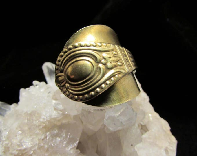 Gold Spoon ring. Gold Wrap ring. Ring made from a small gold tone spoon. Shield ring