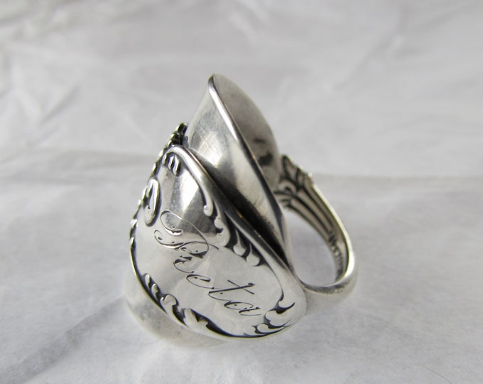 Spoon ring , Sterling silver , Monogram 'Reta' Pat.March 7, 1893.