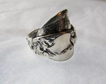 Shield ring. SUPER FANCY Heraldic Sterling silver spoon ring.
