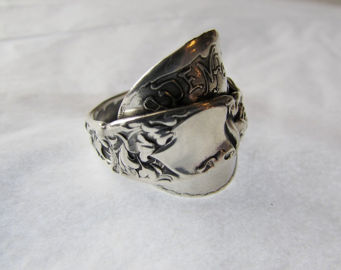 Shield ring. SUPER FANCY Heraldic Sterling silver spoon ring.
