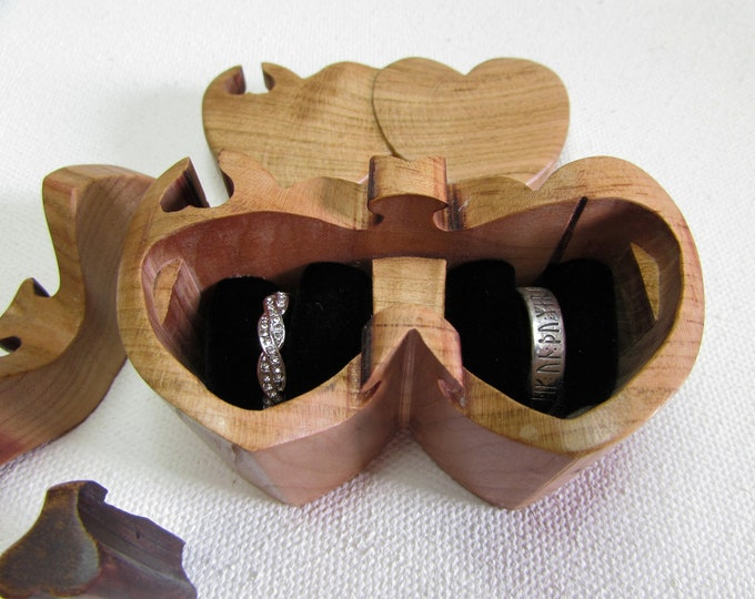 Ring Bearer Box. Wedding ring puzzle box made from a solid piece of Cherry wood.
