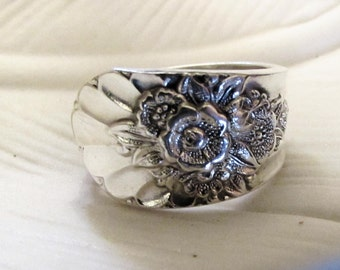 1953 'Jubilee' spoon ring. Sterling silver plated spoon ring. Custom sizing. Romantic jewelry. Custom size available.