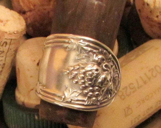 Spoon ring. Grape vine spoon ring. 1908 Rogers La Vigne Grape pattern.  Wine Connoisseur must have.