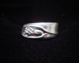 Rose spoon ring. Anniversary Rose. Size 5-15 made from an antique Silver plated spoon.