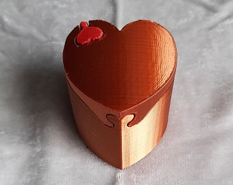 Copper Heart 3D Printed Silk Sheen Puzzle Ring Box, Proposal Ring Box