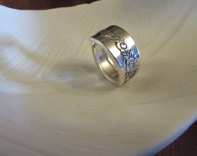 Spoon Ring.Royal Rose ring. Custom sizing. Romantic jewelry. Large ring size available.Sister rings. B.F.F. rings. Generation Rings.