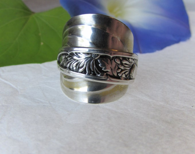 Beautiful Sterling Silver Spoon Ring. Made from an antique sterling demitasse spoon.
