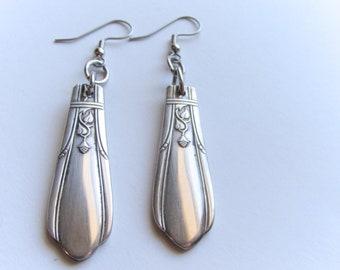 Spoon Earrings. Beautiful Art Deco pattern.