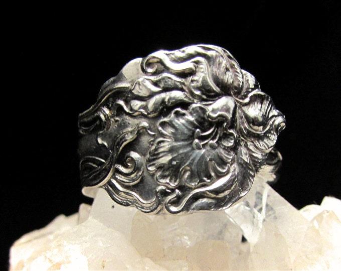Spoon ring. Amaryllis Spoon ring. Art Nouveau design.
