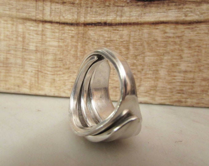 Fork ring . Silverwear ring. Silver fork wrap ring. Ring made from a vintage silver fish fork.