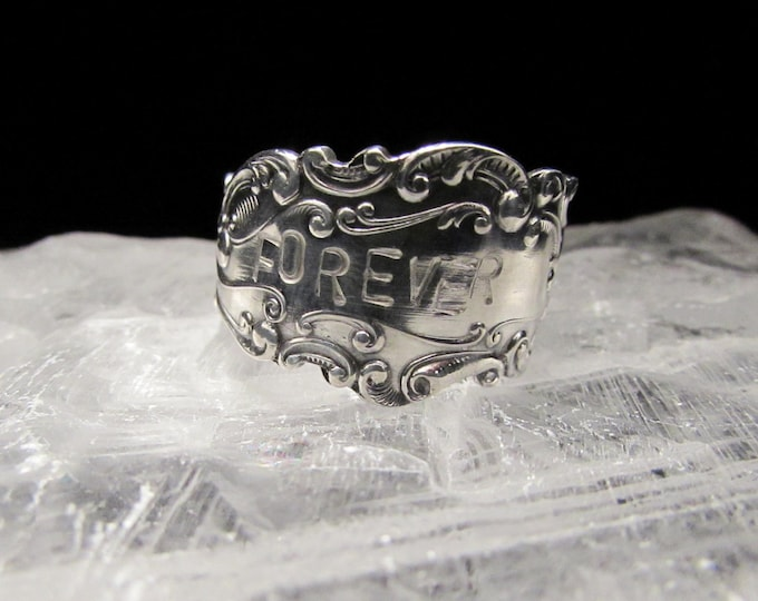 spoon ring. Sterling silver spoon ring. Stamped FOREVER. Promise ring.