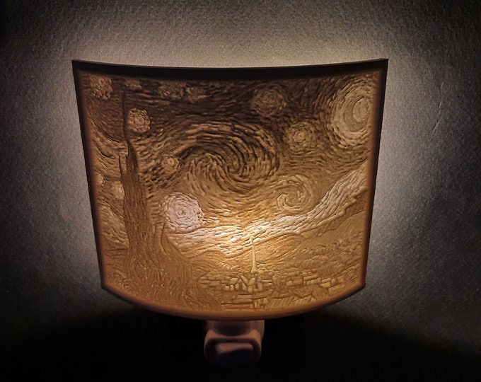 Lithophane Night Light, Vincent Van Gogh 'Starry Night' art series