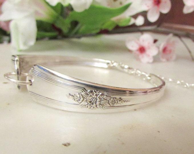 Silver spoon Jewelry, Silverware  bracelet.Rogers 1940 'Desire'. Small Petite size. Wedding Party Gift.