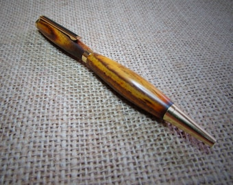 Hand Turned Wood Pen- Exotic Cocobolo Wood Pen, Refillable, Refillable Pen
