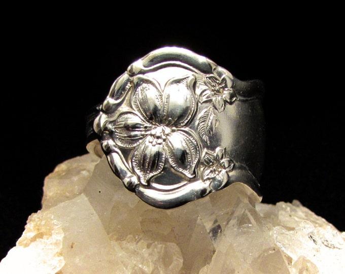 spoon ring. 'Orange Blossom' silverware pattern. Custom sizing. Romantic Rings. Promise Rings. Anniversary Gift.
