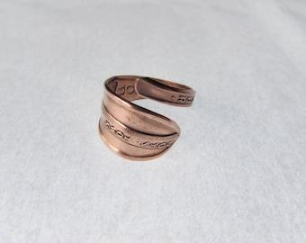 Spoon ring. Silverware jewelry. Copper Boys Town, Nebraska souvenir spoon.
