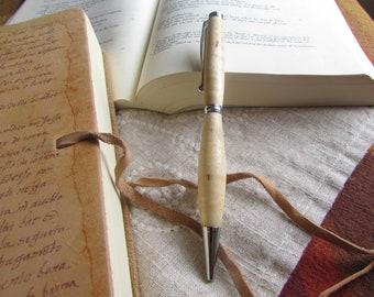 Ambrosia Maple wood turned pen, refillable twist pen.