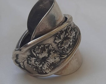 Carnation Spoon ring . Shield ring. made from a demitasse silverplate spoon.
