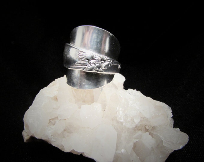 White Orchid spoon ring. Made from a demitasse White Orchid spoon.