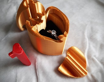 Heart of Gold 3D Printed Silk Sheen Puzzle Ring Box, Proposal Ring Box