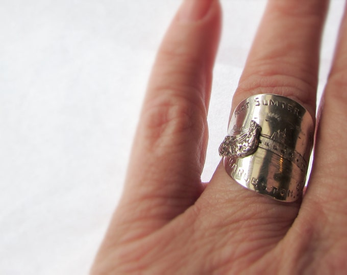 Fort Sumter Charleston S. C. Sterling silver spoon ring. Forget me not flowers.