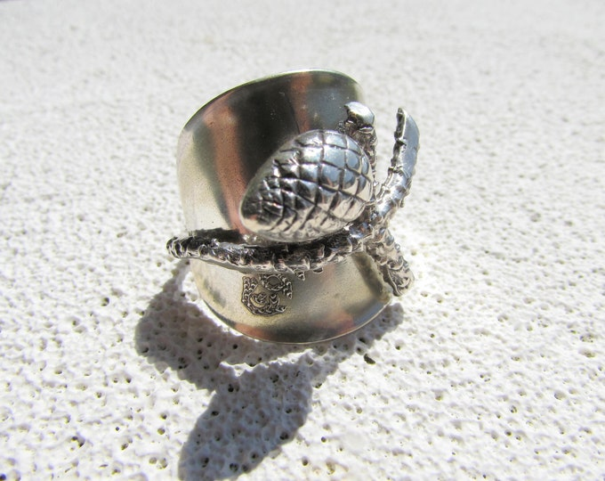 Sterling Pine cone spoon ring. Shield ring.