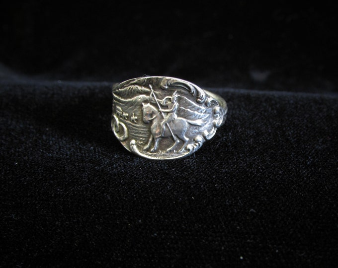 Sterling Colorado spoon ring. Horse and Rider.