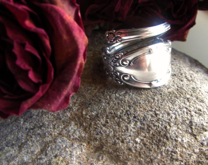 Spoon ring. Sprial wrap ring made from an antique silverplate condiment fork. sizes 5-12