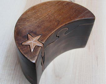 Ring Box, Moon and Stars style engagement ring puzzle box made from a solid piece of cherry wood.