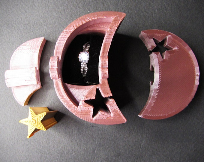 Ring Box, Rose Gold Moon and Star engagement ring puzzle box. 3D printed puzzle ring box.