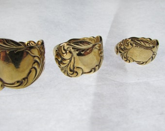 Golden Spoon ring.  Silverware jewelry. size 4- 12. Solid Antique spoon.