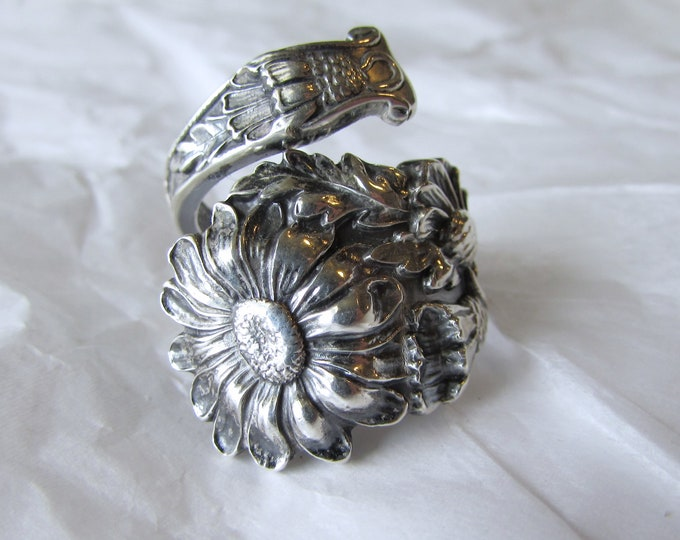 Daisy Sterling Silver Spoon Ring made from a  Paye & Baker spoon.
