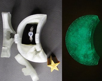 Ring Box, Moon and Stars glow in the dark engagement ring puzzle box. 3D printed puzzle ring box.