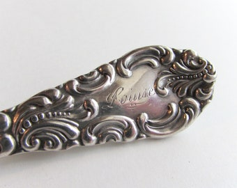 Spoon pin. Louise. Lapel pin created from a vintage  silver plate spoon handle.