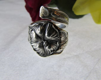 Sterling Morning Glory /Moon Flower spoon ring.