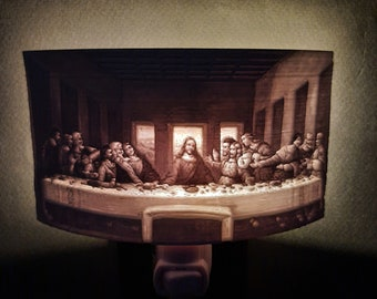 Lithophane Night Light, Leonardo da Vinci 'Last Supper' art series