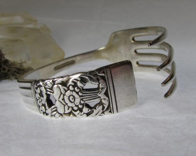 1936 Coronation Fork cuff. Silverware bracelet. Adjustable. Antique silver plate