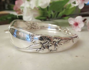 White Orchid Silver spoon Jewelry, Silverware  bracelet. Available White Orchid Ring. Custom sizing.