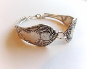 Spoon Bracelet, -1910 Sunkist- pattern .Original antique pieces.Silver spoon Jewelry,  Size's 6-8.5.